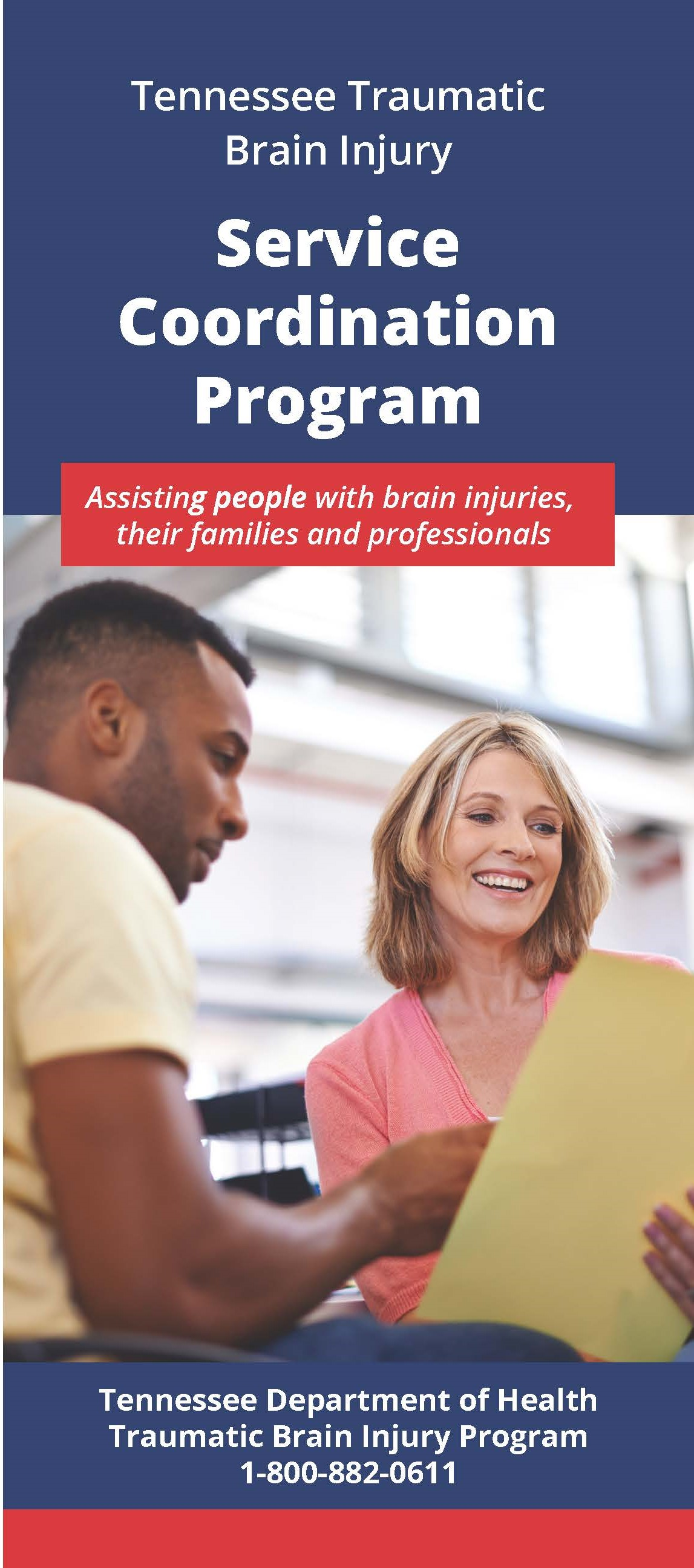 Image of man and woman talking - TBI Service Coordination Brochure