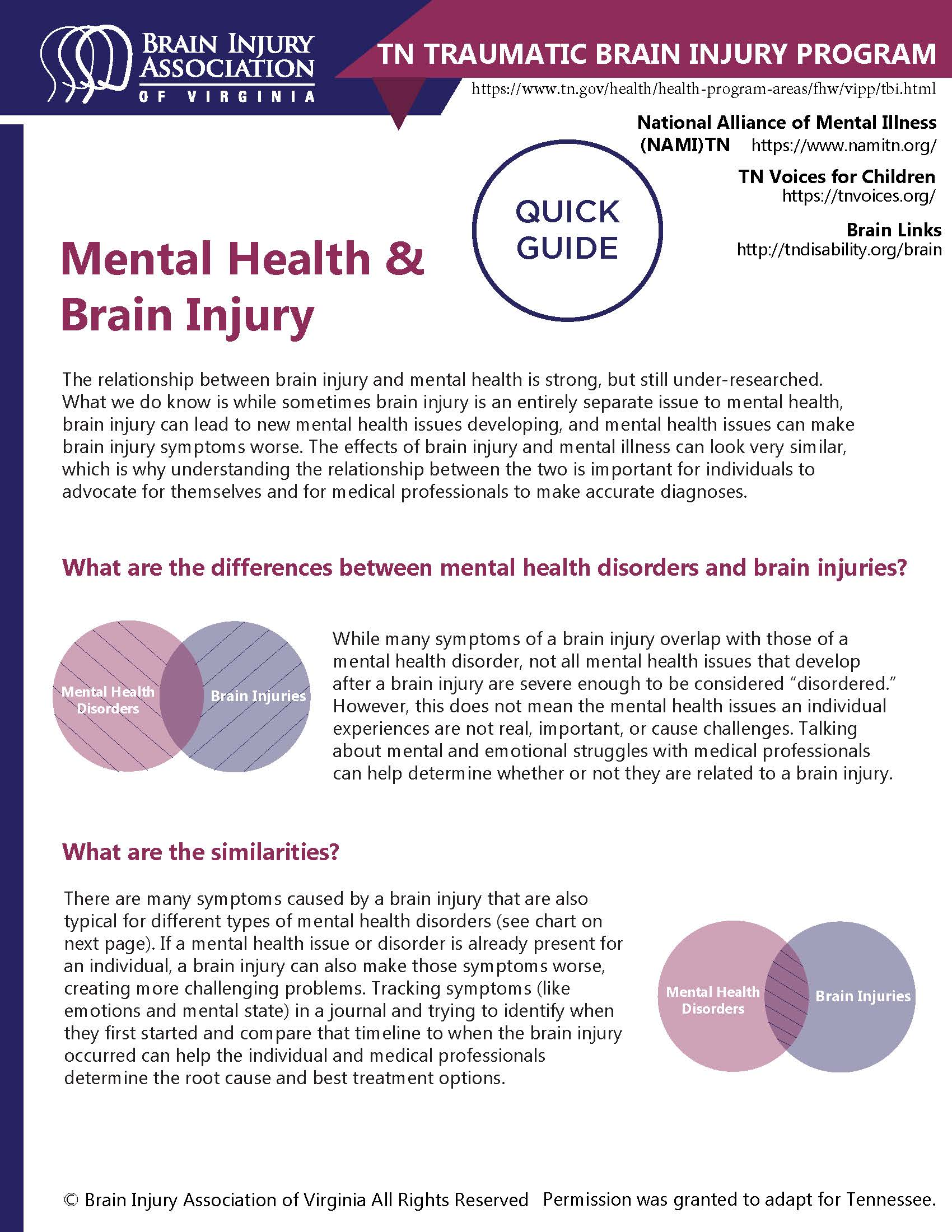 Mental Health and Brain Injury Quick Guide