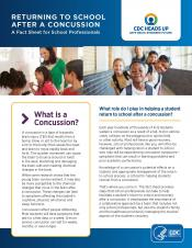 CDC Factsheet for School Professionals - Returning to School After a Concussion